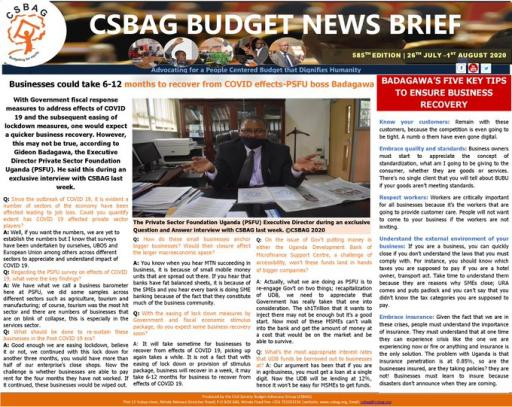 CSBAG News brief   GB outlook on business recovery